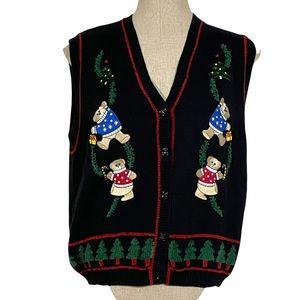 Vtg TABI Christmas Teddy Bears Knit Cardigan Sweater Vest
